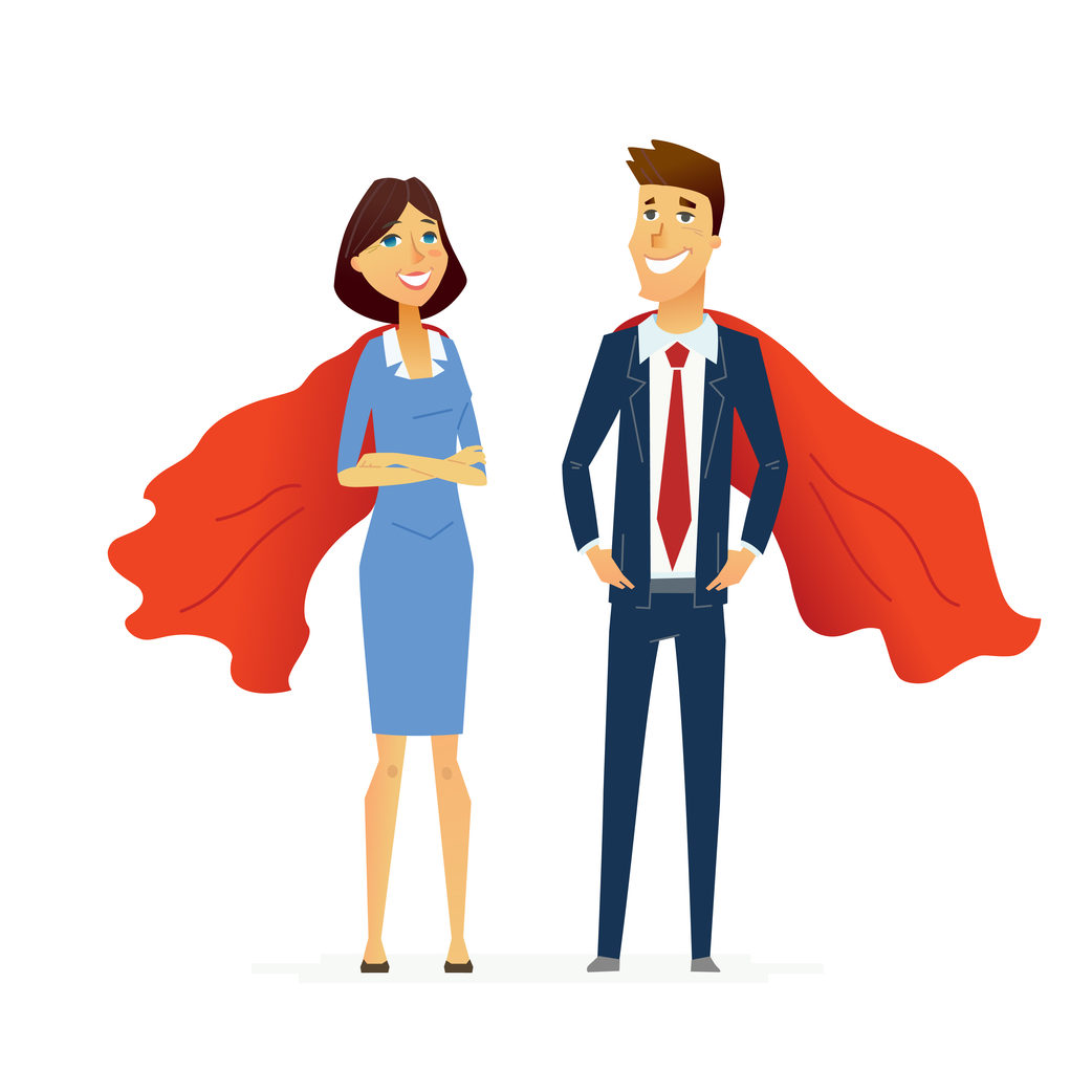 Business Heroes - colored vector flat composition of cartoon characters. Make a great presentation with these caped business superheroes. Superpower, responsibility, efficiency, success, communication.